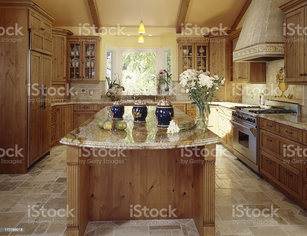 Large Country Kitchen Island royalty-free stock photo