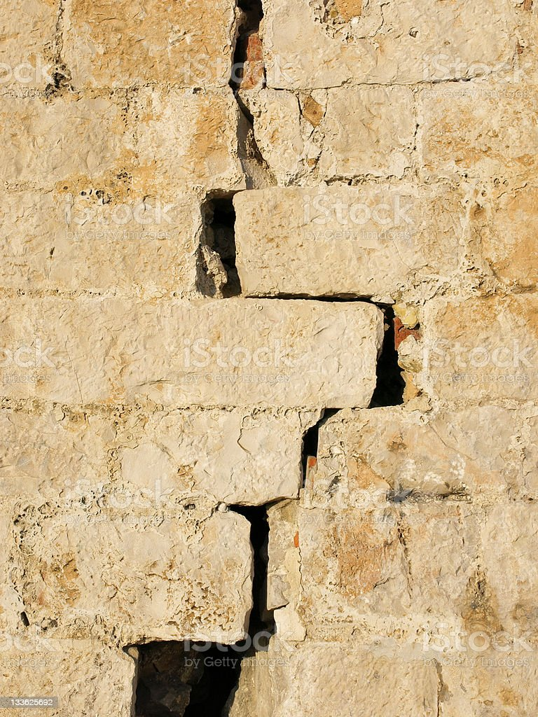 A large crack in a brick wall. royalty-free stock photo