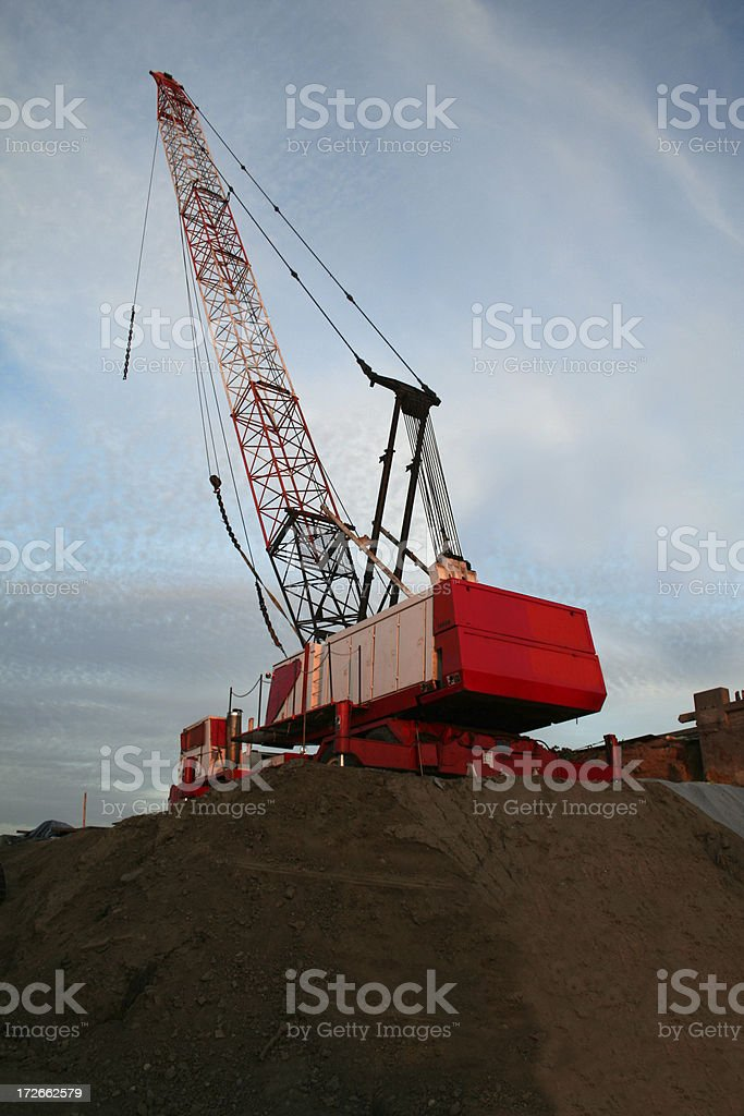 Large Crane at the Side of a Freeway royalty-free stock photo
