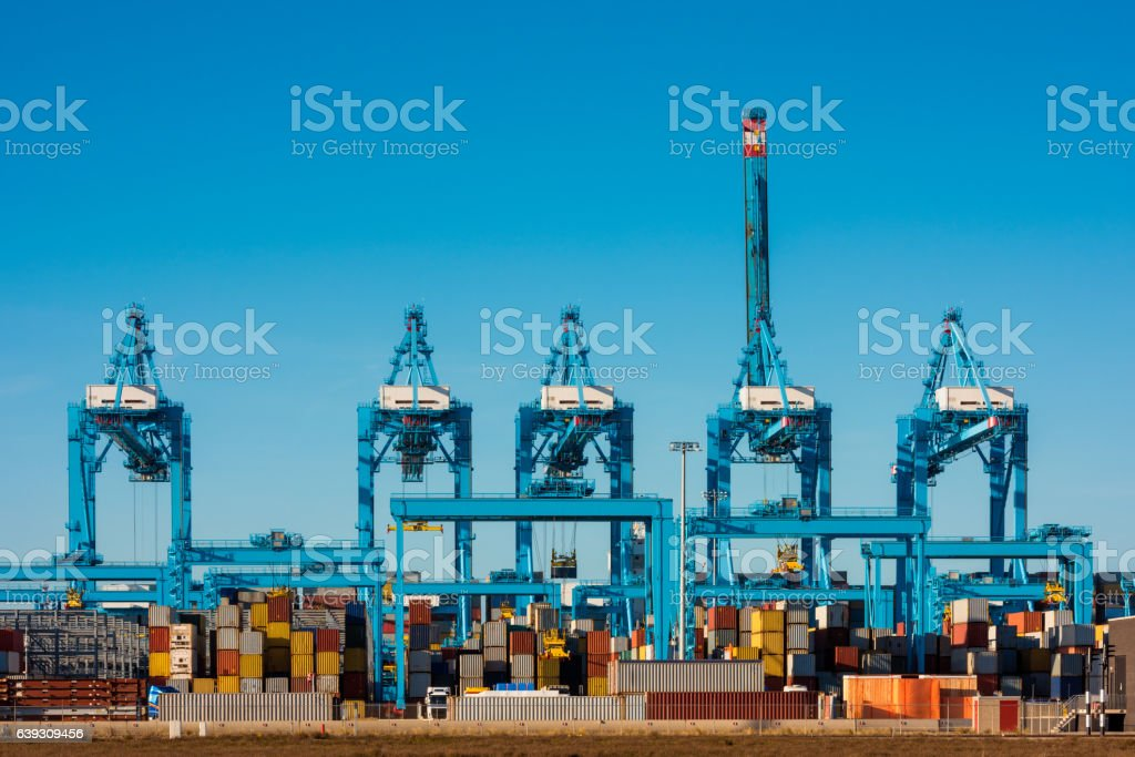 Large Cranes at Container Terminal in Rotterdam Harbour stock photo