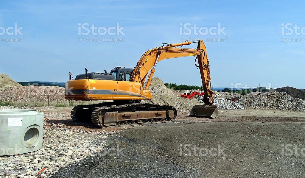 Large crawler excavator stock photo