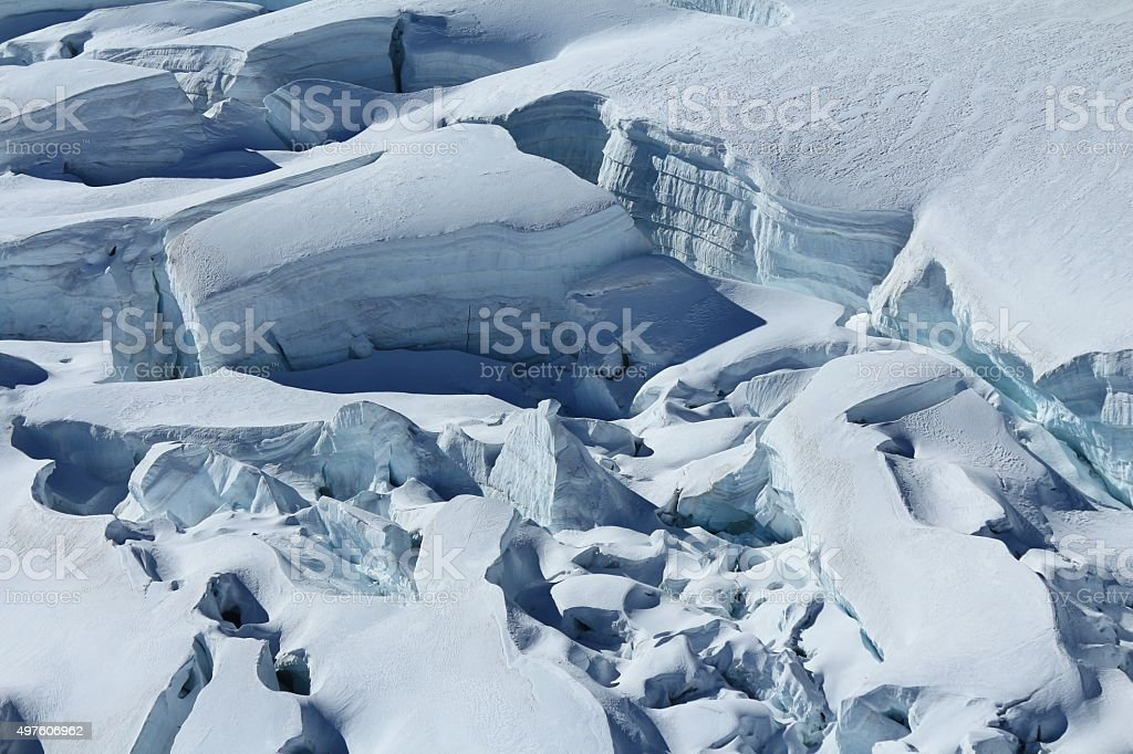 Large crevasses and seracs on the Aletsch Glacier stock photo