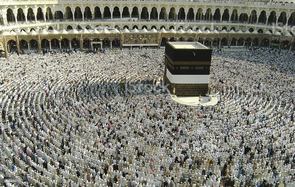 Large crowd assembles to pray at Haram Mosque, Saudi Arabia stock photo