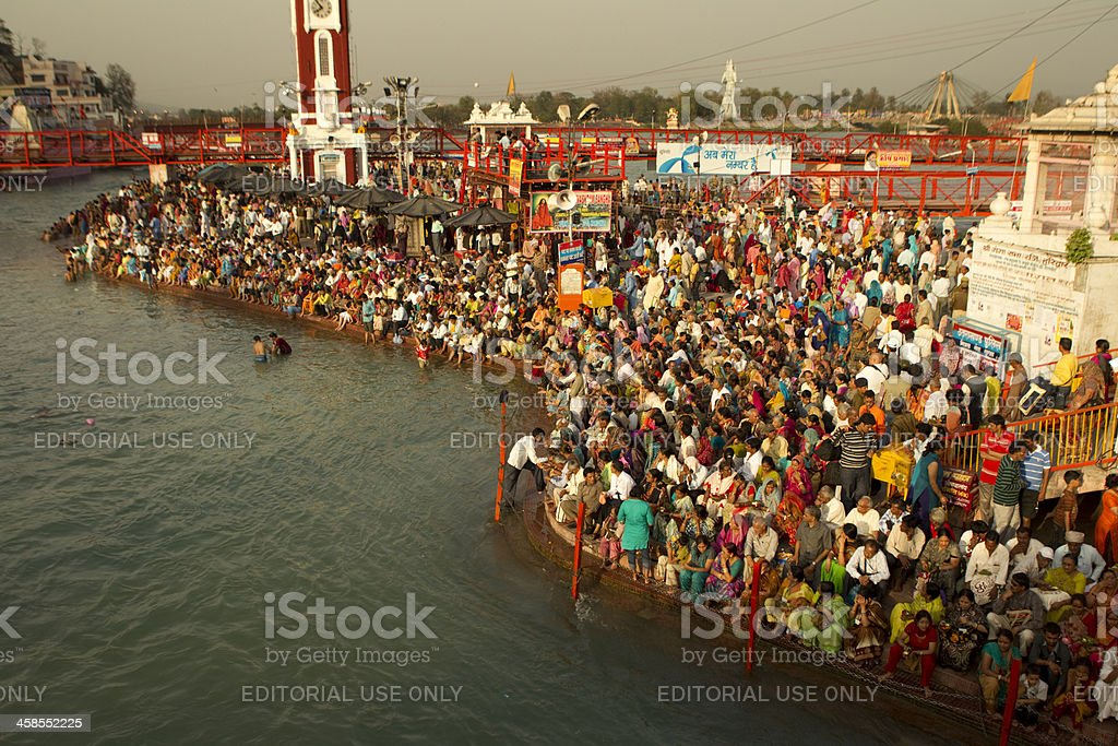 large crowd at ganges in Haridwar stock photo