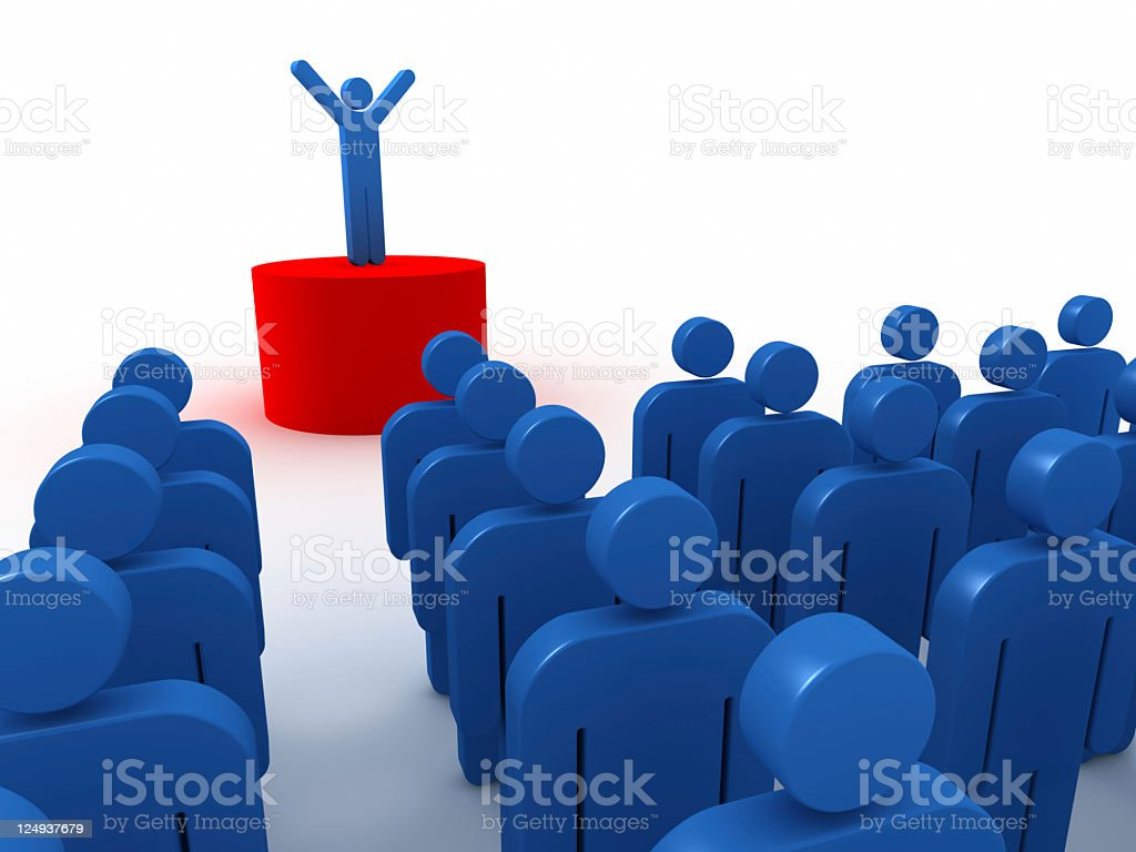 Large crowd gathered for a speech vector art illustration