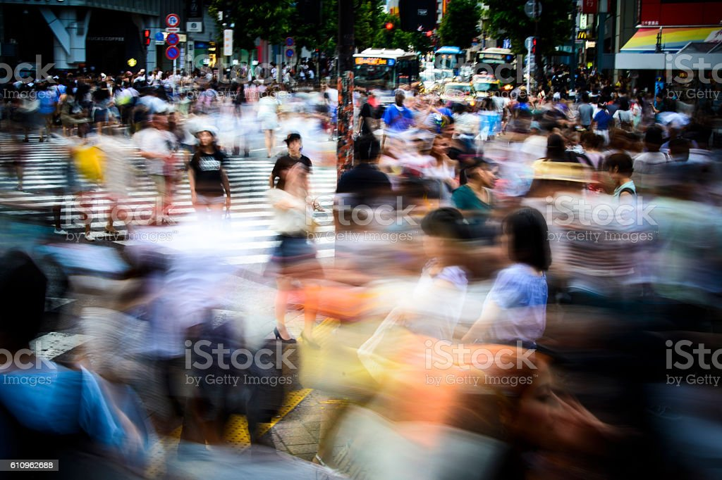 Large crowd hurrying in central Tokyo stock photo