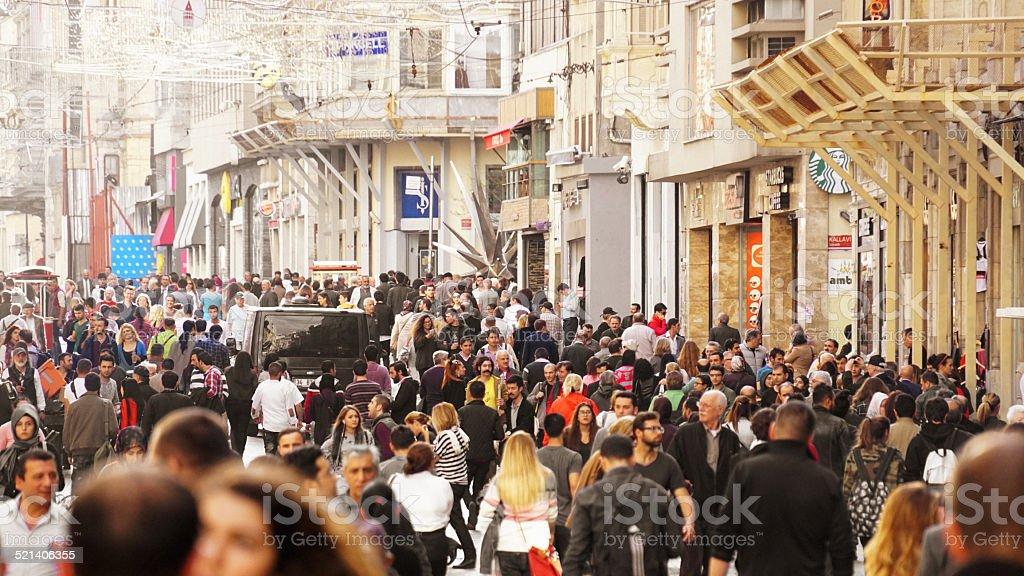 Large crowd in Taksim, Istanbul stock photo