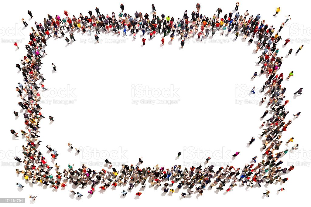 Large crowd of people forming a square stock photo