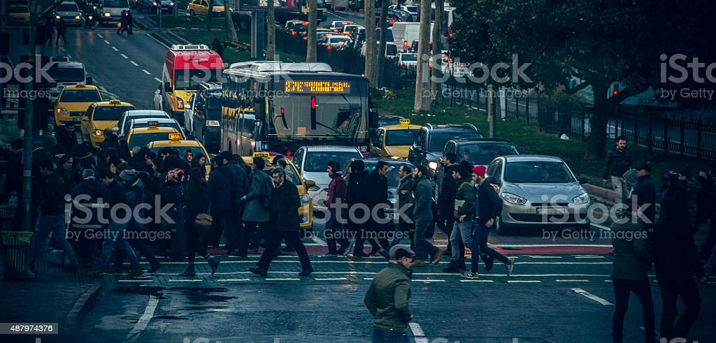 Large crowd of people on street in downtown Istanbul stock photo