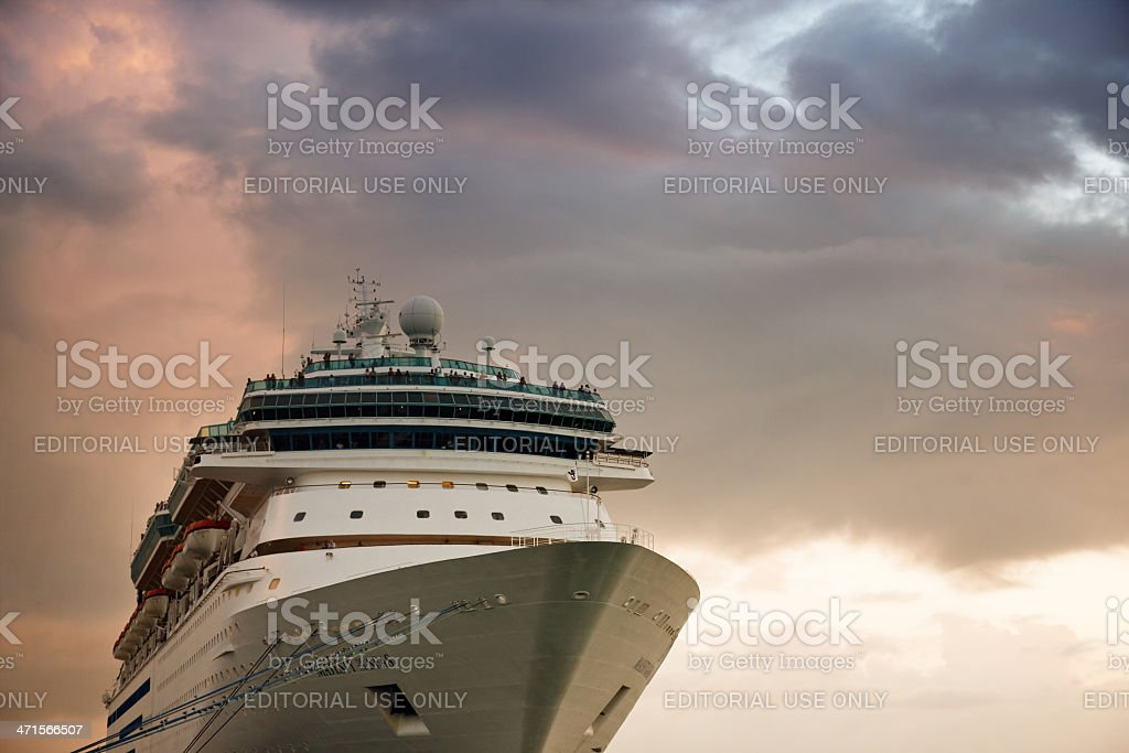 Large cruise ship against stormy sky royalty-free stock photo