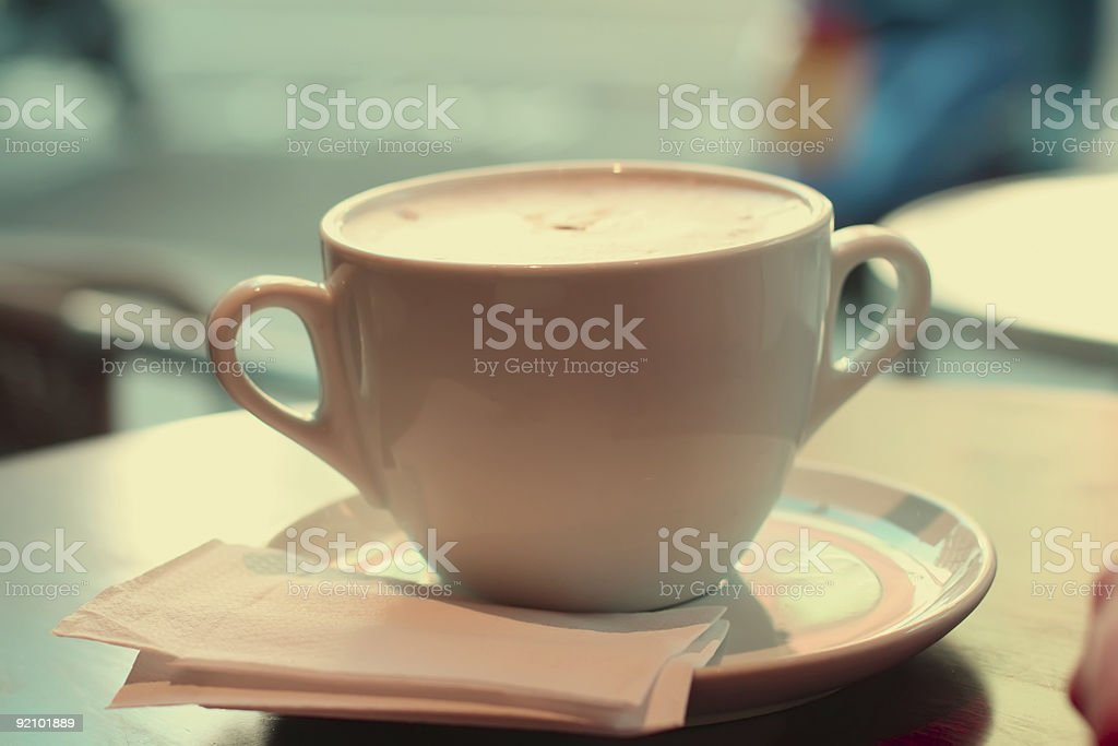 large cup of coffee in retro style colors royalty-free stock photo