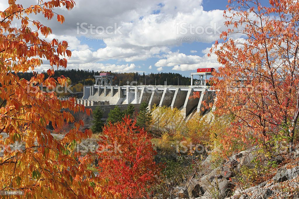 Large Dam Infrastructure in Autumn royalty-free stock photo