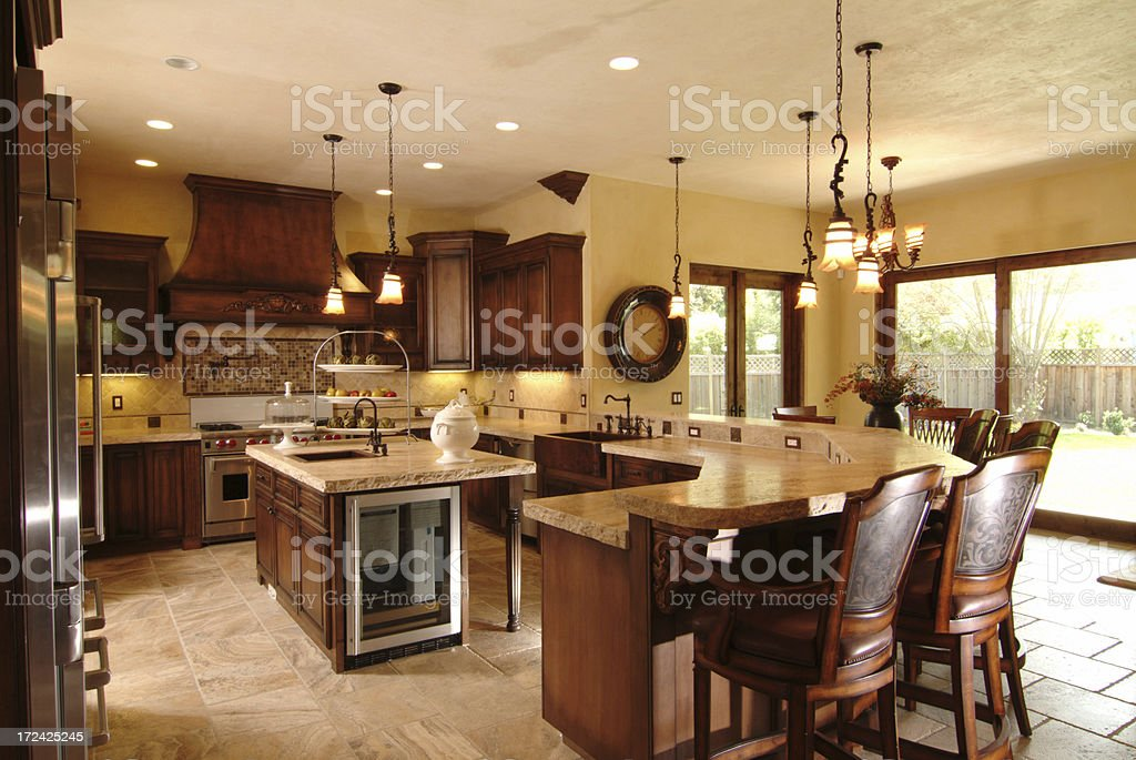 Large Dark Cabinet Kitchen and Island royalty-free stock photo