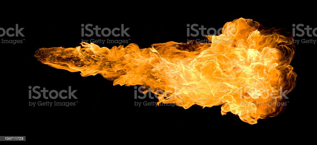 Large deep fireball against a black background stock photo