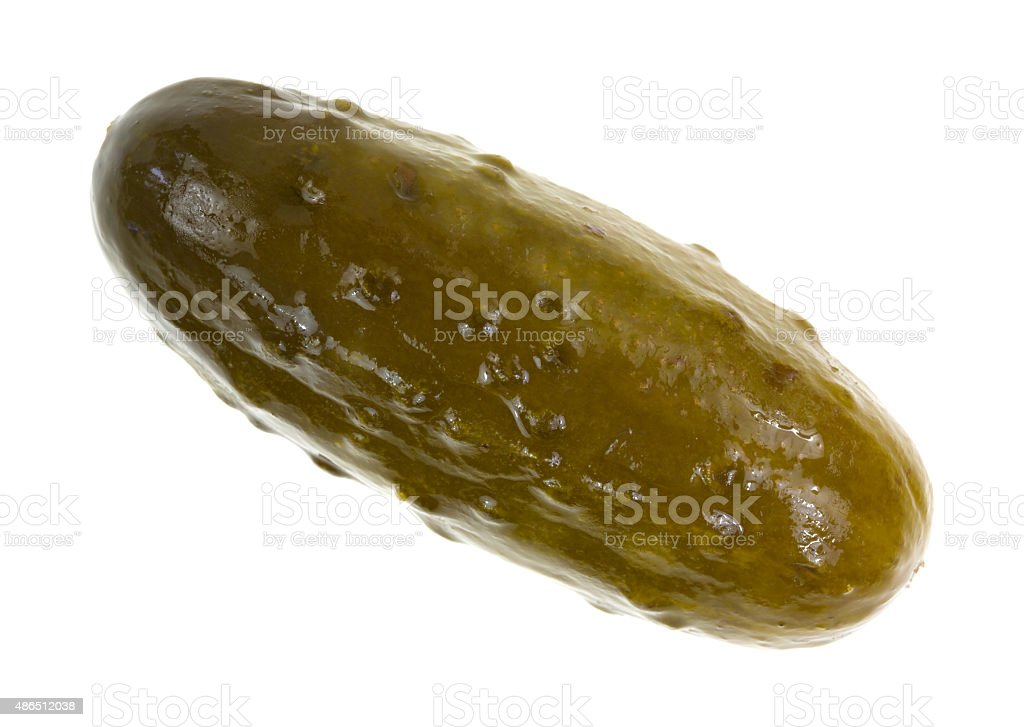 Large dill pickle on a white background stock photo