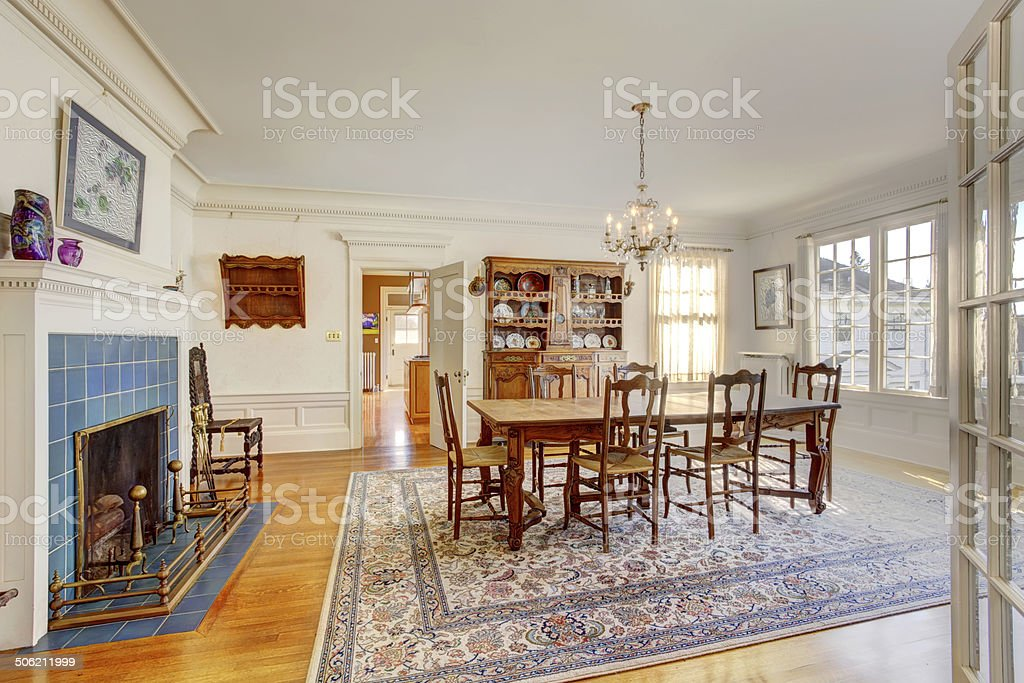 Large dining room in luxury house stock photo