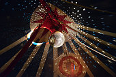 Large Disco Ball With Light Effects In Circus Tent