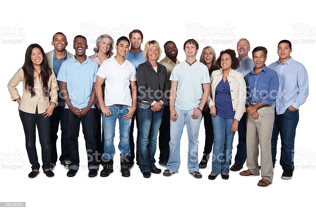 Large diverse group of casual  looking people royalty-free stock photo