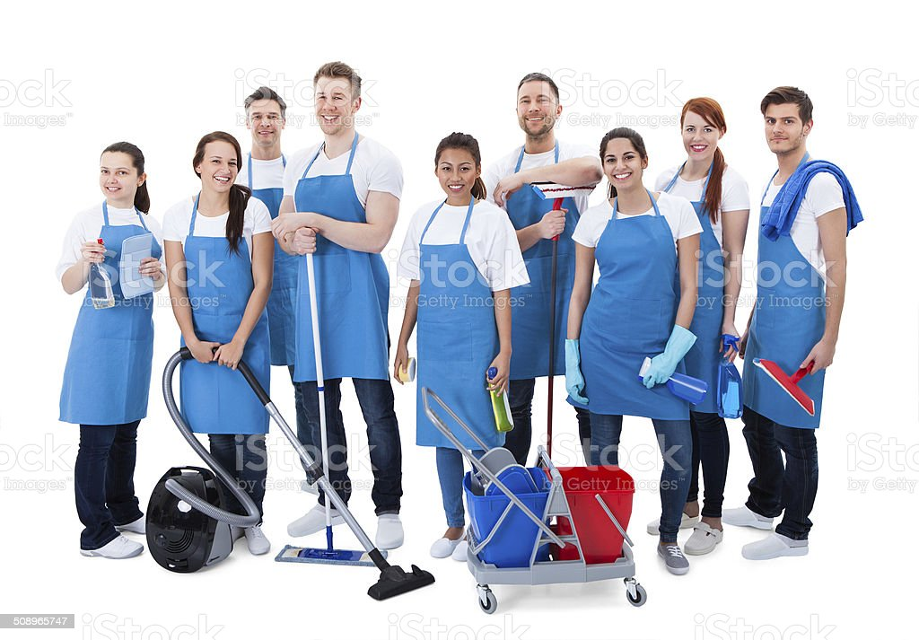 Large diverse group of janitors with equipment stock photo