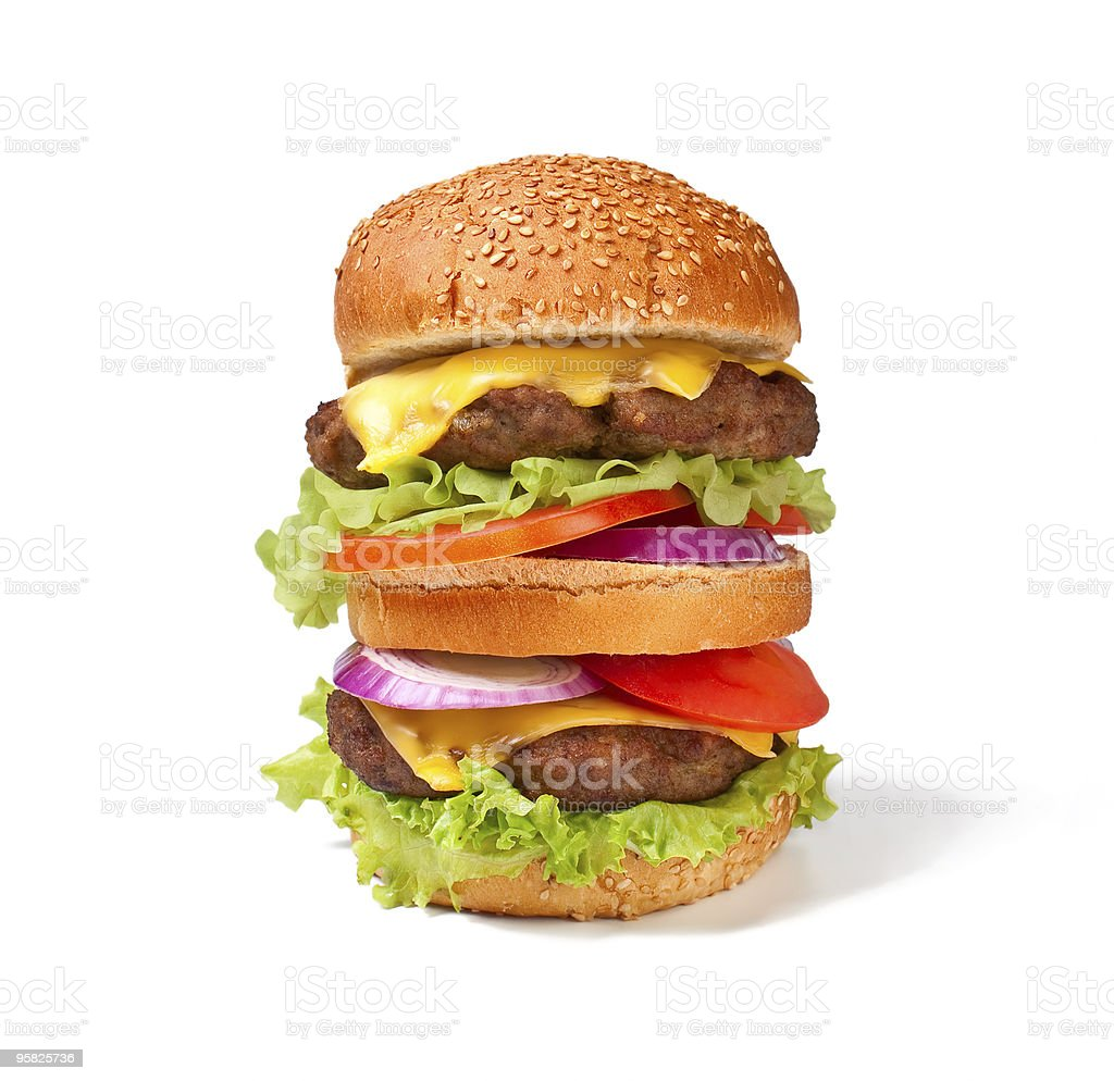 large double cheeseburger stock photo