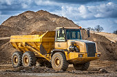 Large dump truck in construction site