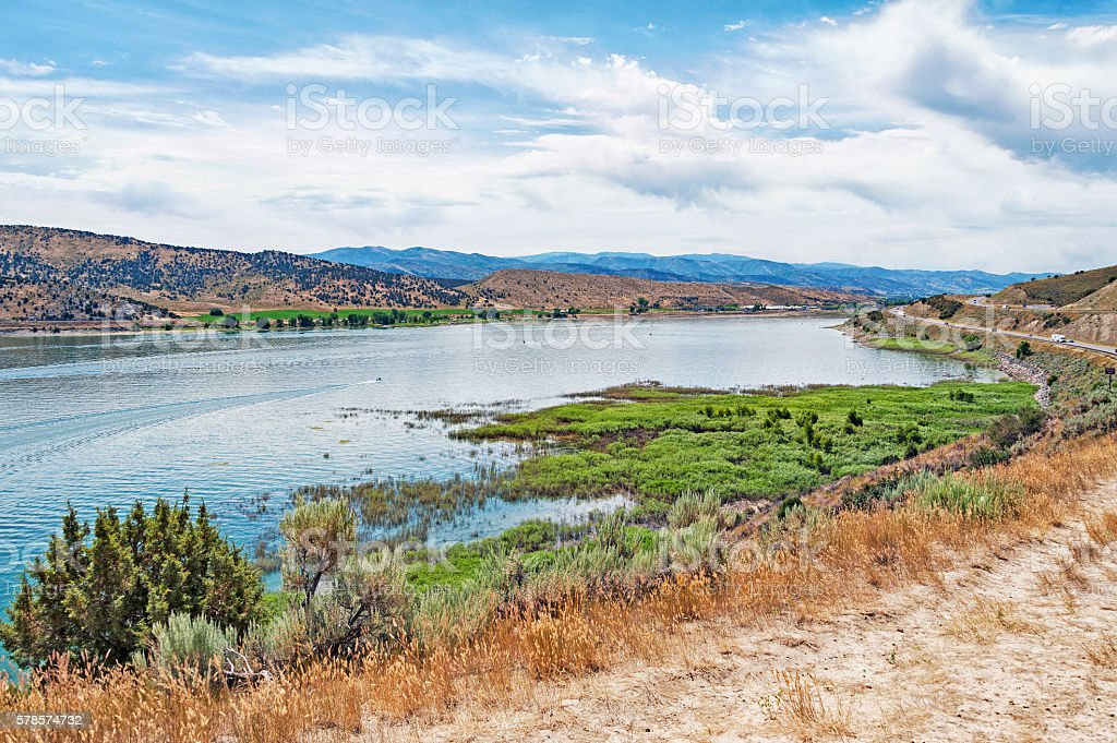 Large Echo Reservoir and roadway to Coalville Utah stock photo
