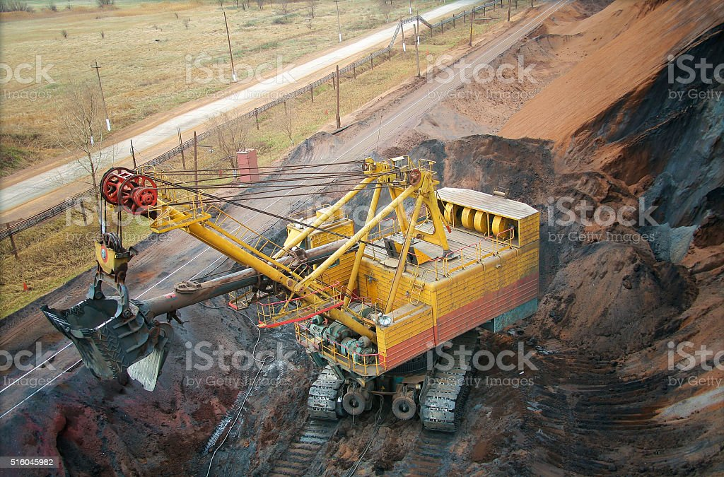 large electric excavator in a quarry stock photo