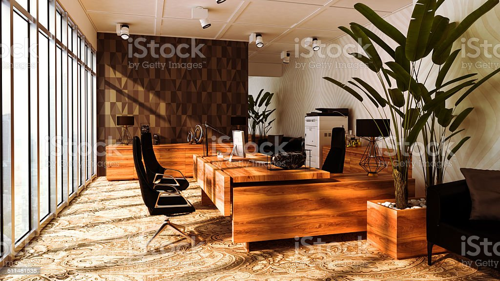 Large elegant and modern office with large windows stock photo