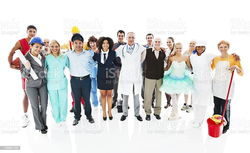 Large Group of diversity occupations people standing together...