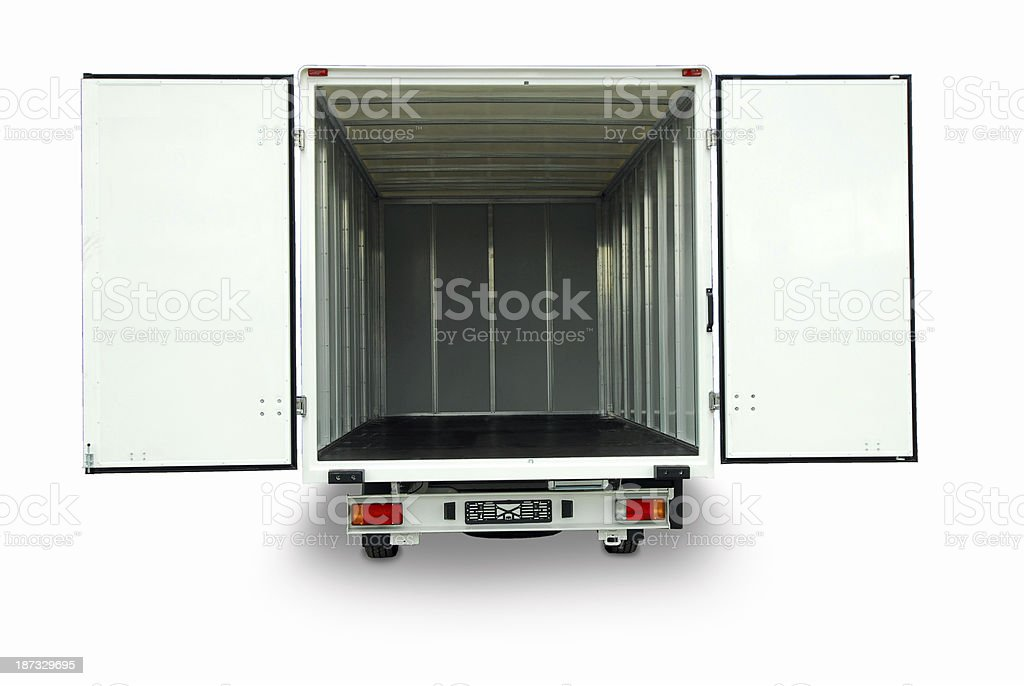 Large empty delivery van with the doors open stock photo