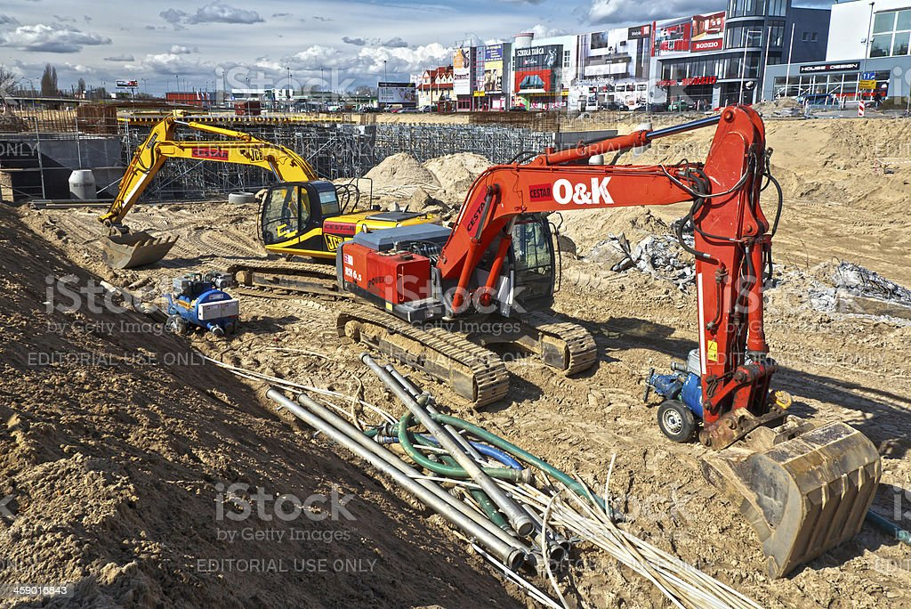 Large Excavators in Road Construction royalty-free stock photo
