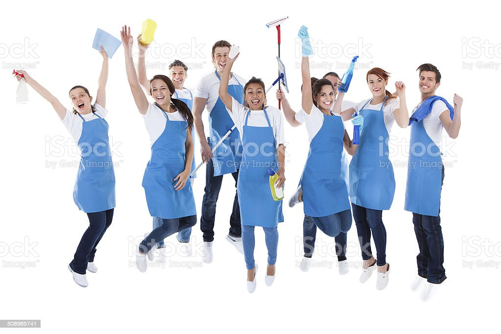Large excited group of diverse janitors stock photo