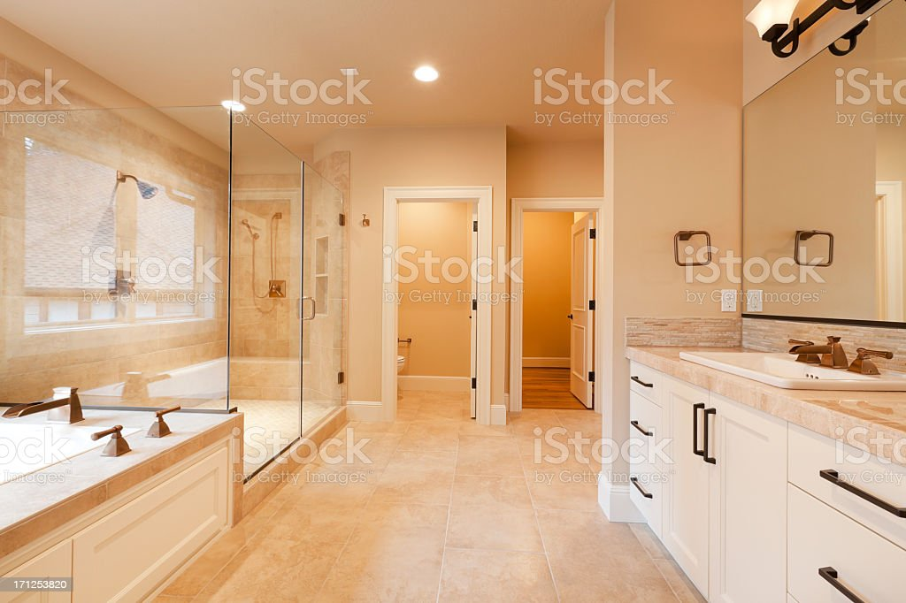 Large expensive master bathroom stock photo