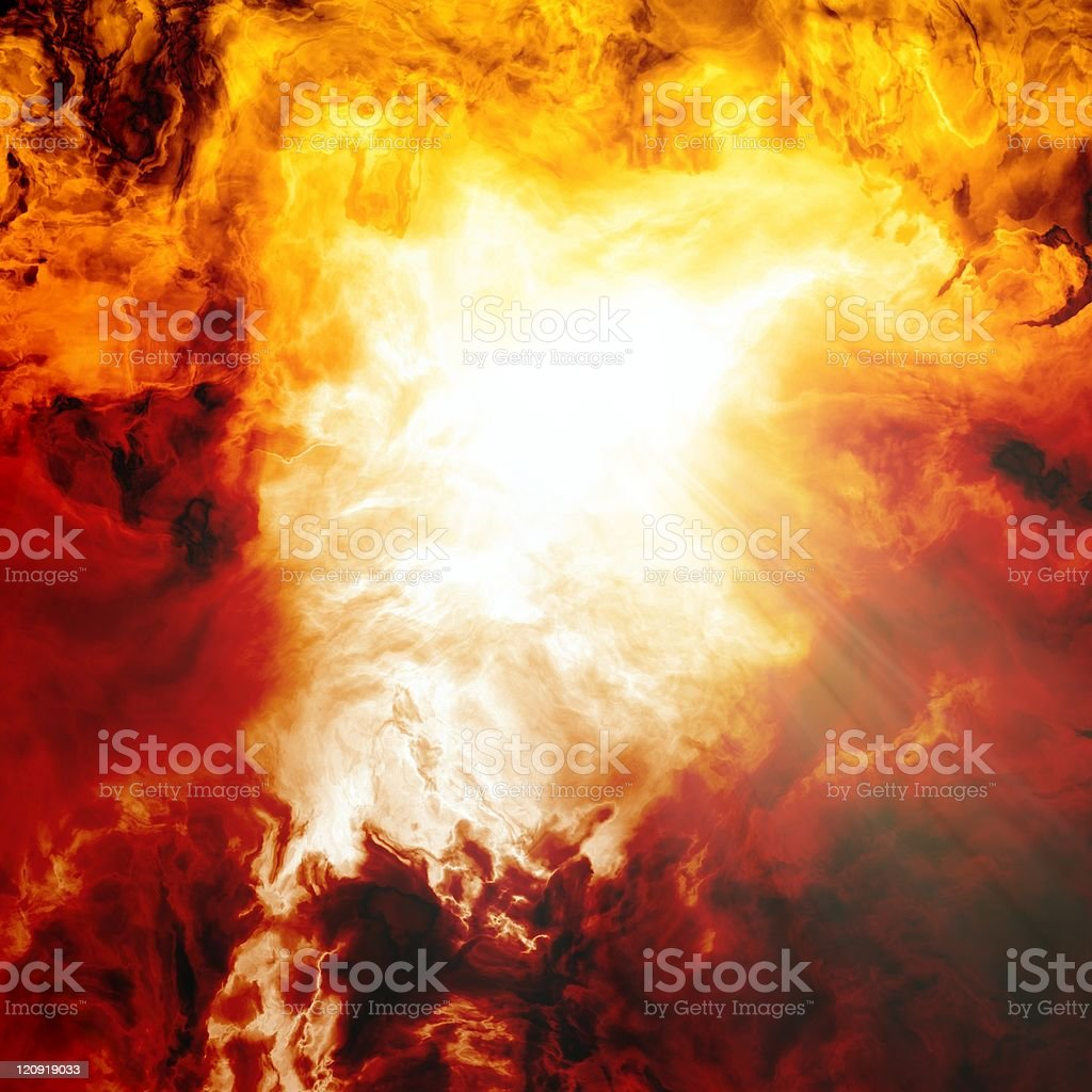 Large explosion demonstrating Armageddon stock photo