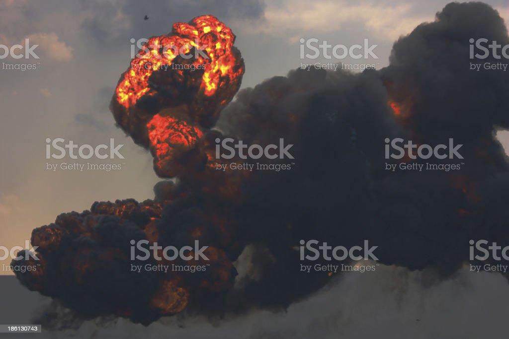 Large explosion - smoke & flames stock photo