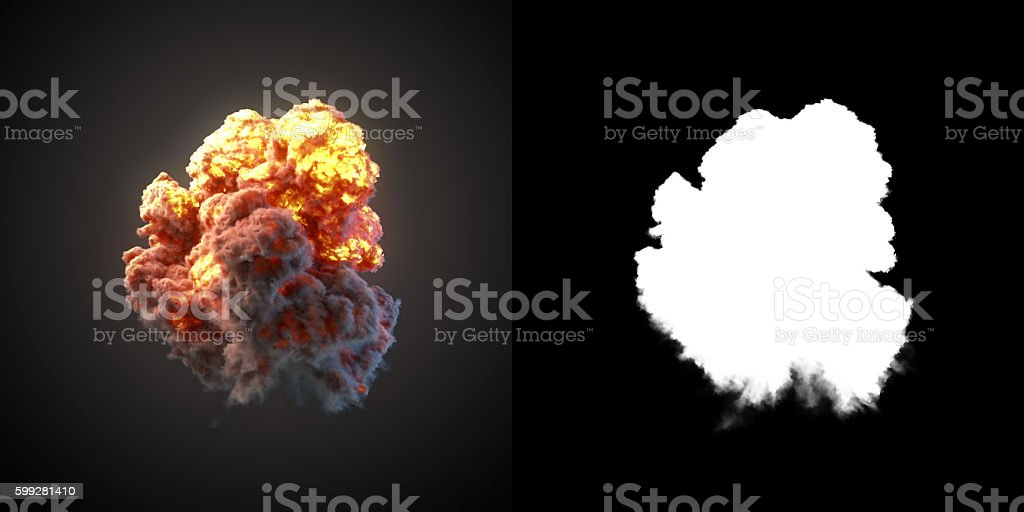 Large explosion with black smoke in dark 3d rendering stock photo