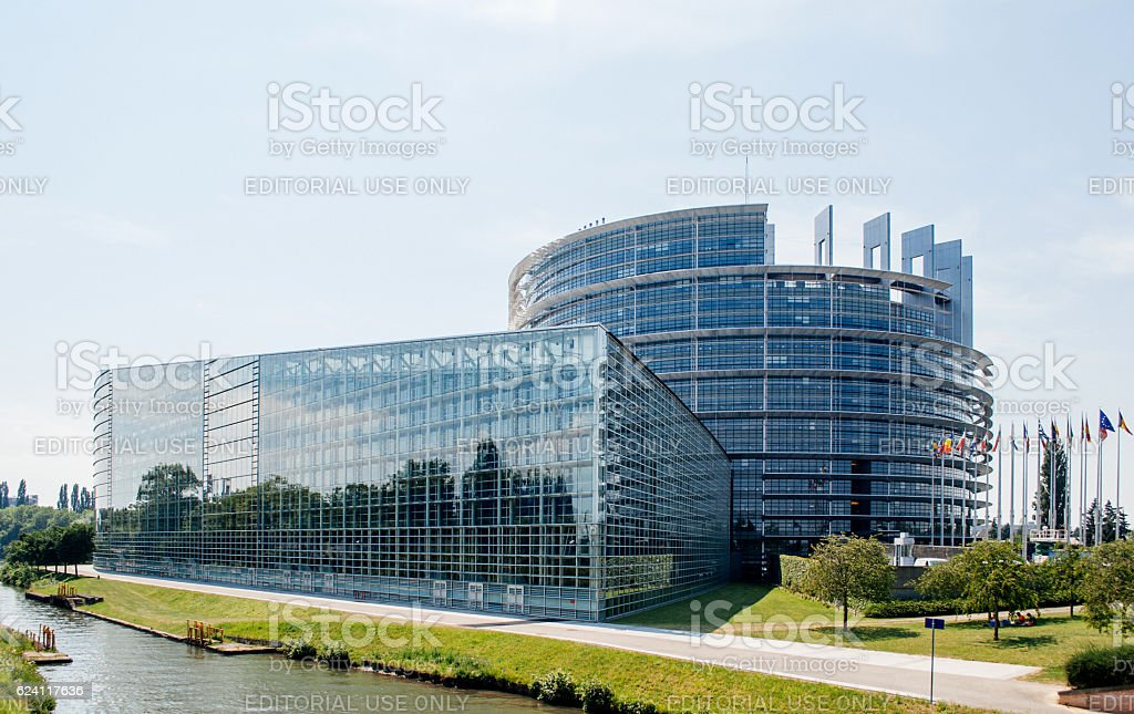 Large facade of the European Parliament in Strasbourg stock photo