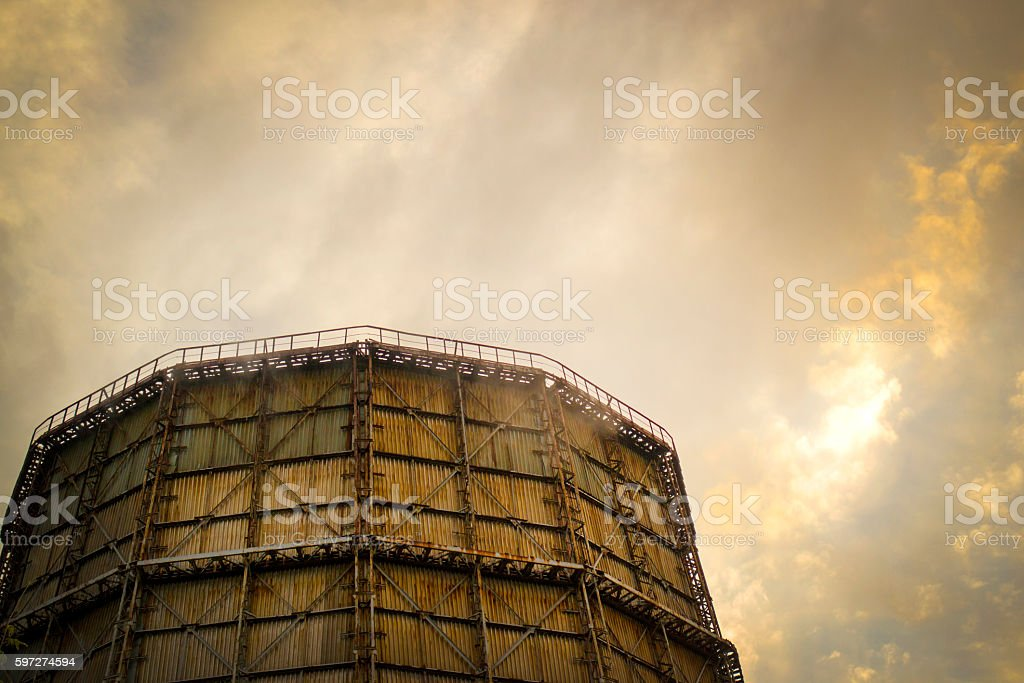 Large factory chimney of slate stock photo