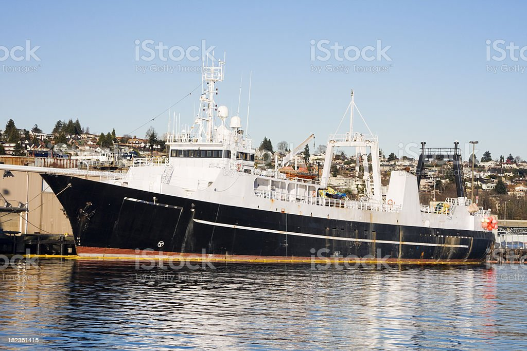 Large Factory Trawler at Dock stock photo