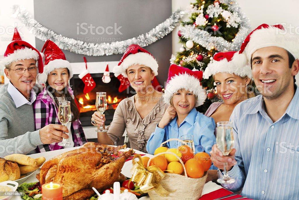 Large family celebrating Christmas holiday. royalty-free stock photo