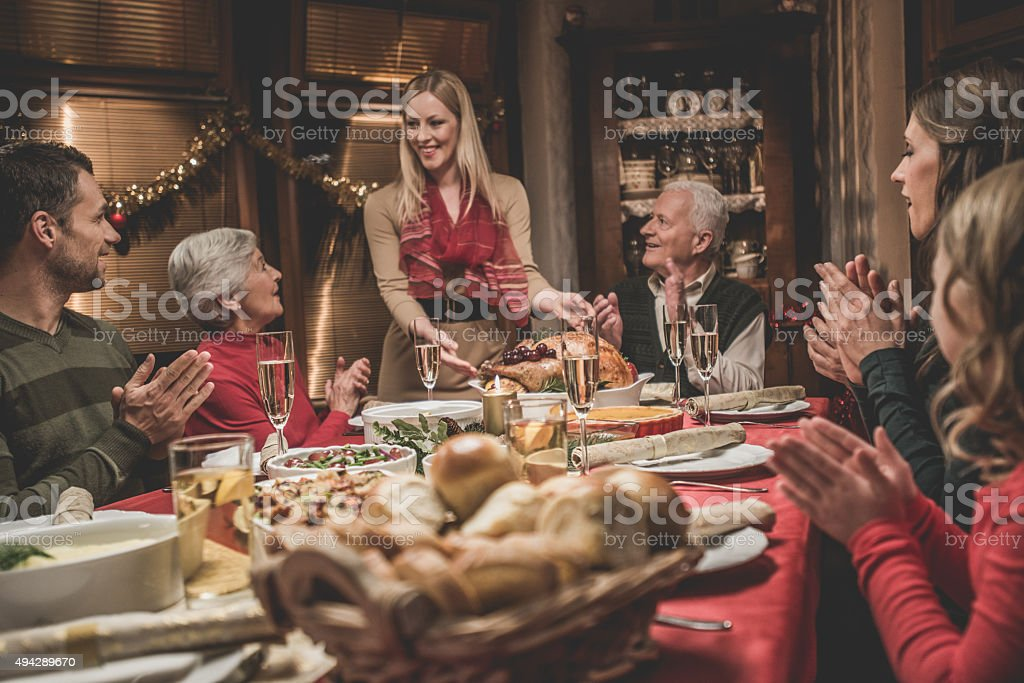 Large family celebrating Christmas holiday stock photo