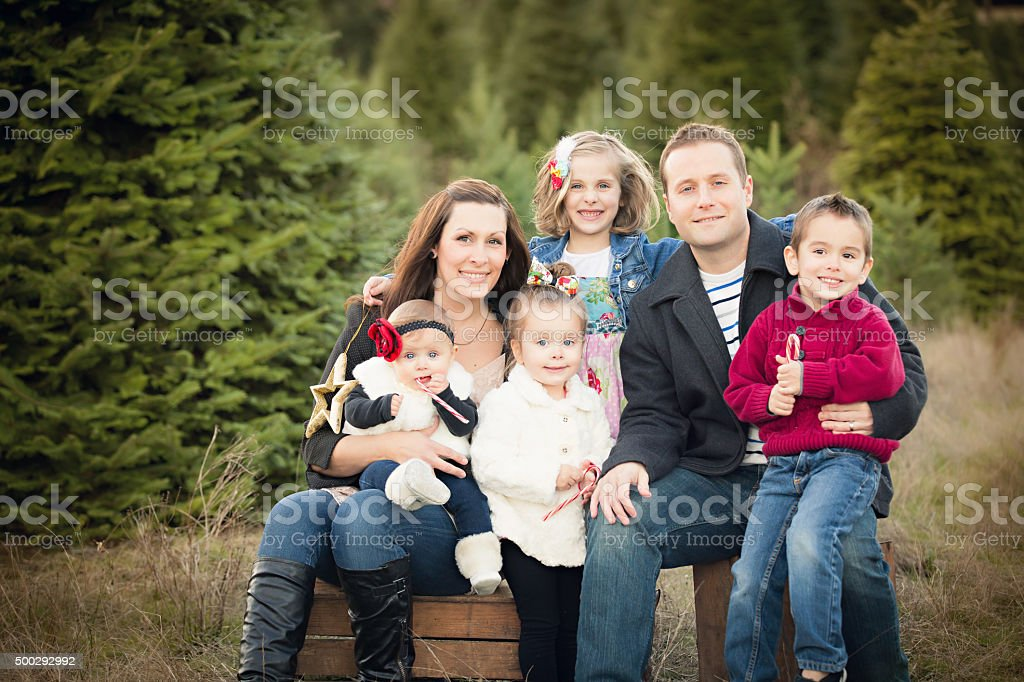 Large Family Christmas Card photo in Christmas Tree Farm . stock photo