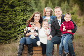 Large Family Christmas Card photo in Christmas Tree Farm .