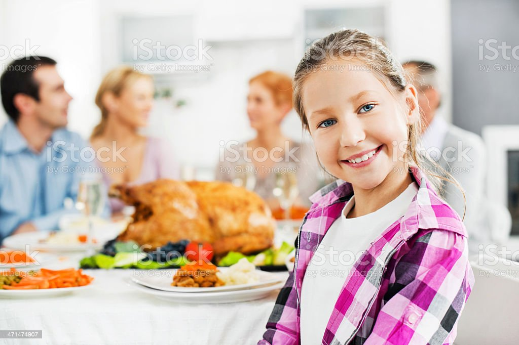 Large family during Thanksgiving day. royalty-free stock photo