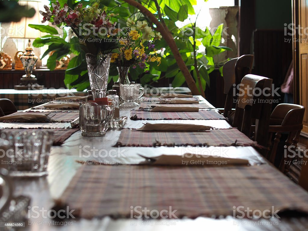Large Family Gathering Table Settings For Holiday stock photo