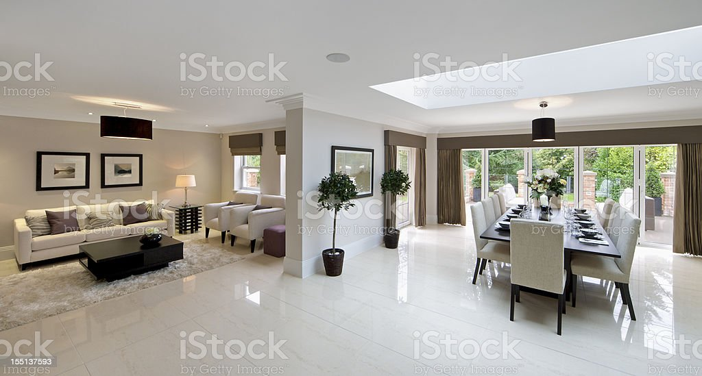 large family room and diner stock photo