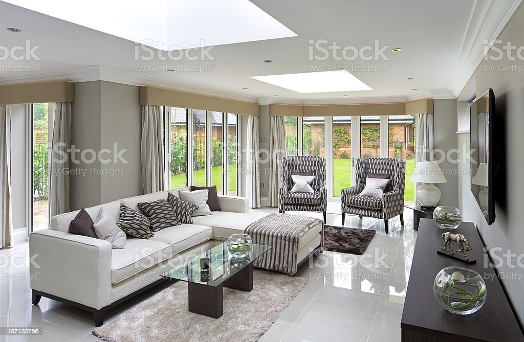 large family room stock photo