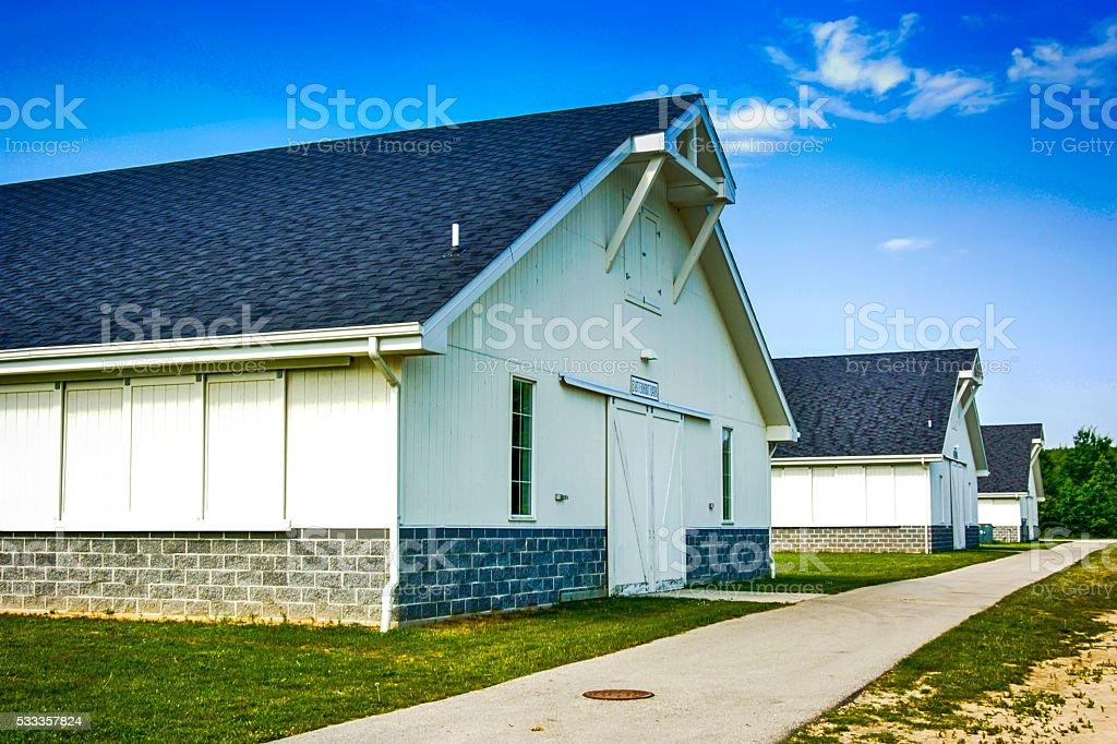 Large farm buildings on a farm near Goodells, MI stock photo