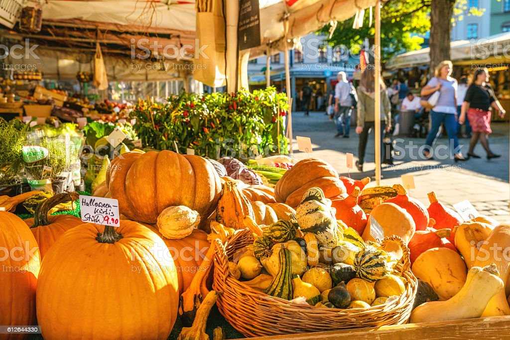 large farmer's market in Munich, Germany stock photo