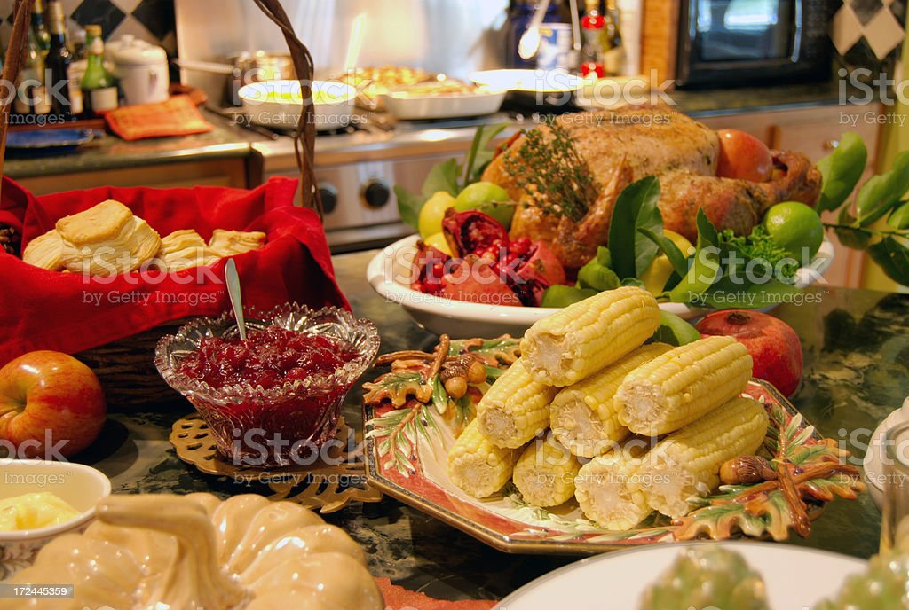 A large festive Thanks Giving spread royalty-free stock photo